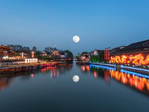 China moon night scenery in a river town